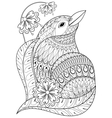 Zentangle exotic bird in flowers Hand drawn vector image vector image