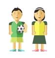 Boy girl and soccer ball vector image