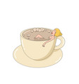 a girl takes a bath from the coffee in a cup vector image