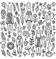 a set doodle rabbits vector image vector image