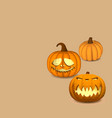 a set of pumpkins on a beige background for vector image