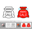 big santa red bag xmas sale linear icon vector image