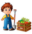 boy farmer holding shovel with vegetables in a woo vector image