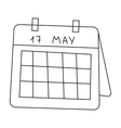 Calendar icon in outline style isolated on white vector image
