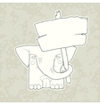 Cartoon Character Elephant with wooden poster vector image