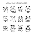 Cartoon faces with emotions set vector image vector image