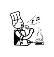 chef singing with hand hold ladle vector image vector image