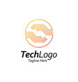 circuit technology logoletter s with hand shape vector image vector image