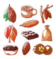 cocoa beans hand drawn isolated set vector image