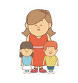 Cute cartoon of mother with two kids vector image