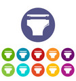diaper icons set color vector image