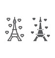 eiffel tower line and glyph icon france and paris vector image vector image