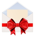 Envelope with letter with red ribbon bow vector image vector image