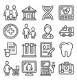 family health clinic icons set on white background vector image vector image