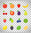 fruits retro set on transparent background vector image vector image