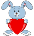Funny rabbit holds love heart vector image vector image