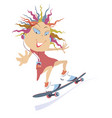 funny skateboarding girl isolated vector image