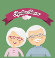 grandparents celebrating their love with ribbon vector image