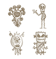 Halloween monsters isolated sketch style creatures vector image