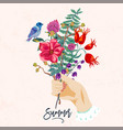 hands and flowers vintage summer vector image