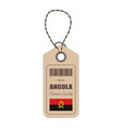 hang tag made in angola with flag icon isolated on vector image
