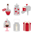 happy valentine day flat design love wedding items vector image vector image
