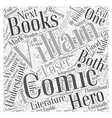 Heroes and villains in comic books Word Cloud vector image vector image