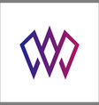 initials letter w mono line logo vector image