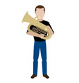 male avatar playing a tuba vector image