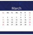 march 2018 calendar popular blue premium for vector image vector image