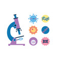 medical microscope icon with micro organisms vector image