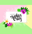 mothers day greetings card with hand vector image vector image