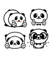 ok logo funny little cute panda showing gesture vector image vector image