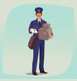 postman standing in front face with parcels vector image vector image