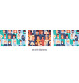 set modern seamless patterns with people vector image vector image