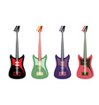 Set of colored guitars Multi-colored rock electric vector image vector image