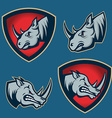 Set of emblems with rhino head Sport team mascot vector image