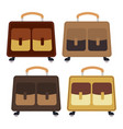set of four multicolored wheeled travel bag vector image vector image