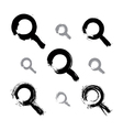 Set of hand-painted monochrome magnifying glass vector image vector image