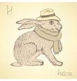 Sketch fancy hare in vintage style vector image vector image