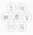 Strategy save planet and mail envelope icons vector image vector image