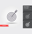 target icon line icon with editable stroke vector image
