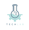 technology lab tube with gear design template vector image vector image