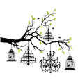Tree with chandelier and birdcage vector image