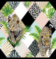 tropical palm leaves and exotic leopard background vector image vector image