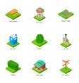 urban greenery icons set isometric style vector image
