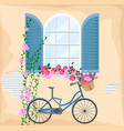 vintage window with flowers bicycle and floral vector image vector image