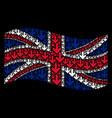 waving united kingdom flag mosaic of arrow down vector image