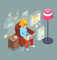 work home wonam girl sit armchair laptop working vector image vector image