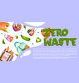 zero waste cartoon banner with reusable eco bags vector image